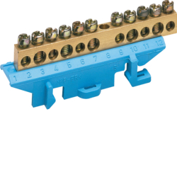 KM11N Brass terminal,  5x10mm² 5x16mm², with mounting base,   Color: blue