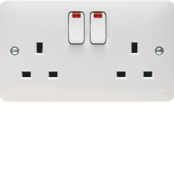 WMSS82N 2 Gang Double Pole Switched Socket Dual Earth with LED Indicators