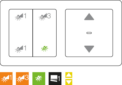 A | KNX radio button, 2gang on universal touch dimmer, <br />2gang KNX radio blind button on blind insert comfort